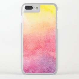 Hand painted abstract violet pink yellow watercolor paint Clear iPhone Case