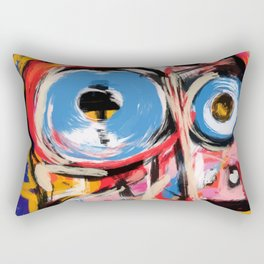 Art brut outsider underground graffiti portrait Rectangular Pillow