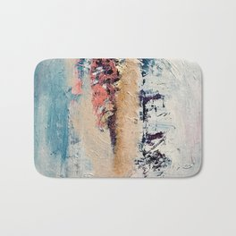 Artemis: A pretty, minimal, abstract mixed media piece in blue, gold, pink, purple, and white Bath Mat