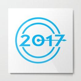 2017 Blue Date Clock Metal Print