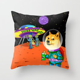 Shibe Doge Astro and the Aliens Memes Cats Cartoon Throw Pillow
