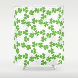 Lucky Shamrock Clover Leaves Shower Curtain