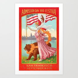 Lady holding USA flag & California flag alongside a bear at the Admission Day Festival of 1910 Art Print