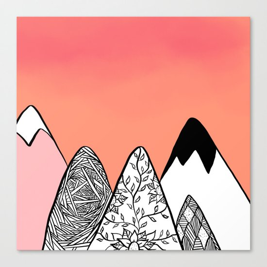 Modern abstract pink coral watercolor sky black white geometric floral mountains illustration Canvas Print
