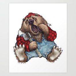 Sleepy LumberJack Bear Art Print