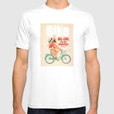 BIKE MEDIUM White Mens Fitted Tee
