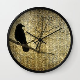 Crow Of Damask Wall Clock