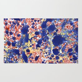 Marbling, blue, red and yelow Rug