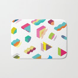 blocks isometric Color Design elements in the Memphis style Bath Mat