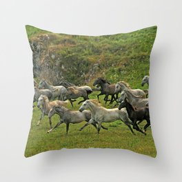 Running with wind Throw Pillow