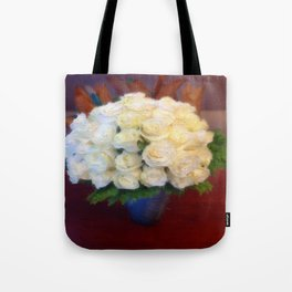 White roses in a blue vase  Tote Bag