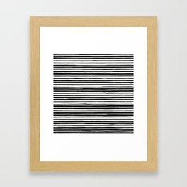 Skinny Stroke Horizontal Black on Off White Framed Art Print