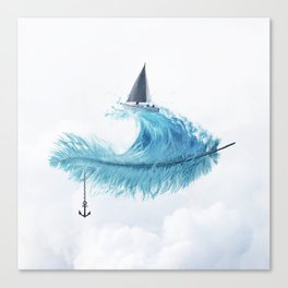 Water Feather • Blue Feather (horizontal) Canvas Print