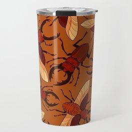 Red Stag Beetle Pattern Travel Mug