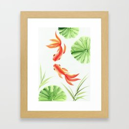 Gold fishes painting Framed Art Print