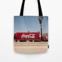 coke Tote Bags featuring Coke Truck by Alex