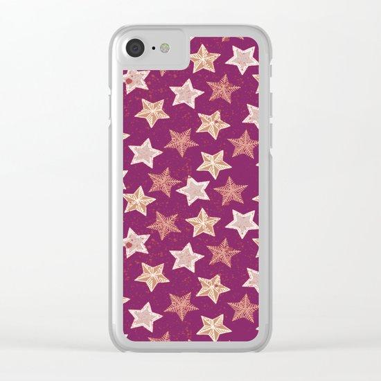 Festive Stars Purple Clear iPhone Case