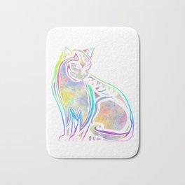 Colorful cat (watercolor) Bath Mat