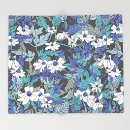 Floral Forest in Blue Throw Blanket