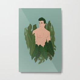 Man with his rare tropical houseplants Metal Print