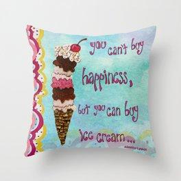 Ice Cream Happiness Throw Pillow