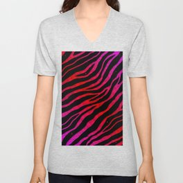 Ripped SpaceTime Stripes - Pink/Red Unisex V-Neck