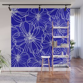 Flower Drawing, Blue and White Wall Mural