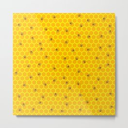 Mind Your Own Beeswax / Bright honeycomb and bee pattern Metal Print