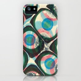 Transparent dots, cyan & pink, marble iPhone Case