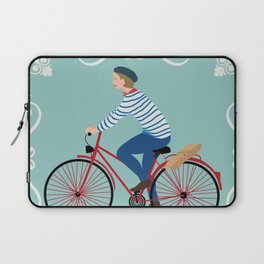 Vintage Style Frenchman on a Bicycle with Baguette Art Print Laptop Sleeve
