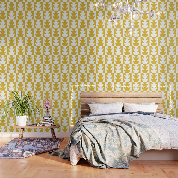 Art Deco Jagged Edge Pattern Mustard Yellow Wallpaper By Tonymagner
