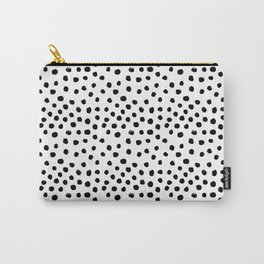 Preppy black and white dots minimal abstract brushstrokes painting illustration pattern print Carry-All Pouch