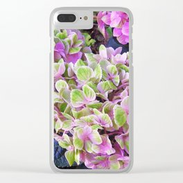 Pink & Green Hydrangea Clear iPhone Case