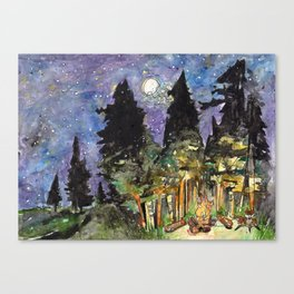 Campfire Under a Full Moon Canvas Print