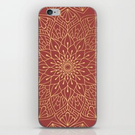 Gold Mandala Pattern On Cherry Red iPhone Skin