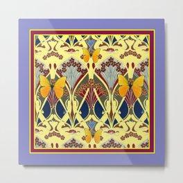 Decorative Yellow Art Nouveau Butterfly Maroon Designs Metal Print