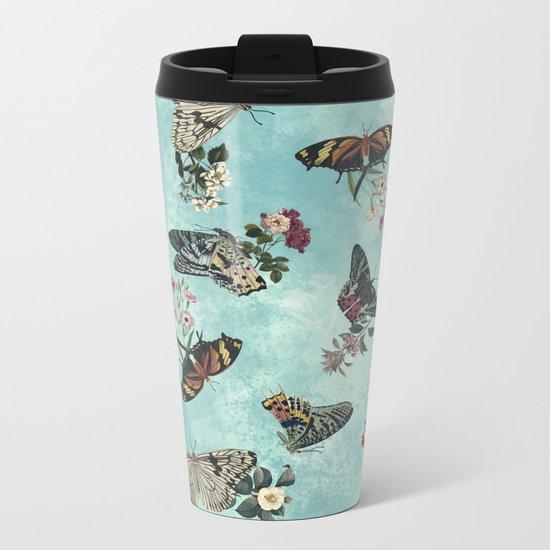 Butterfly Floral Metal Travel Mug