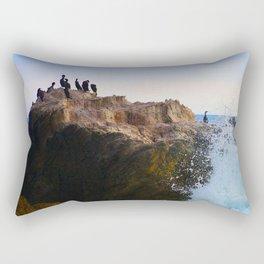 Safe Harbor in the Storm: Seabirds On Rocks Rectangular Pillow