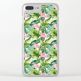 Pink green watercolor flamingo tropical monster leaves Clear iPhone Case
