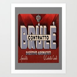 contratto brule digestivo aromatico vintage Poster Art Print
