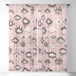 Mystic Eyes – Blush & Black Palette Sheer Curtain