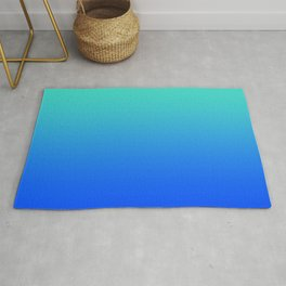 Bright Turquoise Blue Lagoon Ombre Rug