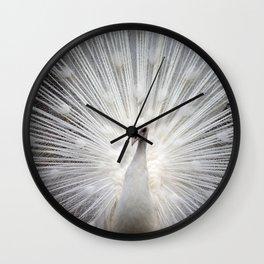white peacock 1 Wall Clock