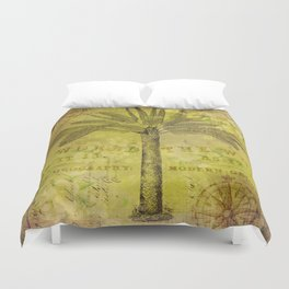 Vintage Journey palmtree typography travel collage Duvet Cover