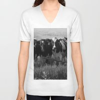 cows V-neck T-shirts featuring Cows by Julie Luke