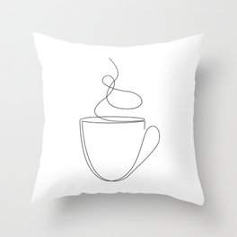 coffee or tea cup - line art Throw Pillow