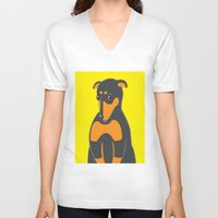 doberman V-neck T-shirts featuring Doberman by ununuctio