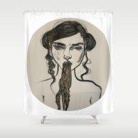 ursula Shower Curtains featuring Ursula by Shalehound