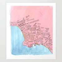 los angeles Art Prints featuring Los Angeles  by Orosun