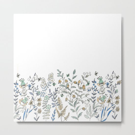 Watercolor pattern . The flowers of the field . 2 Metal Print